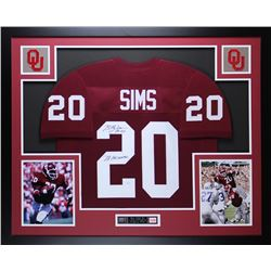 "Billy Sims Signed Oklahoma Sooners 35"" x 43"" Custom Framed Jersey Inscribed ""78 Heisman"" (JSA COA)"