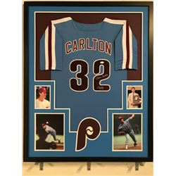 "Steve Carlton Signed Phillies 34x42 Custom Framed Jersey Inscribed ""Lefty"" (JSA COA)"