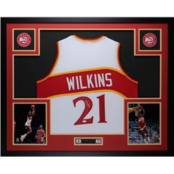 Dominique Wilkins Signed Hawks 35x43 Custom Framed Jersey (JSA COA)