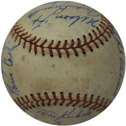 1961 American League All-Star Baseball Team-Signed by (20) with Norm Cash, Tony Kubek, Al Kaline, Ne