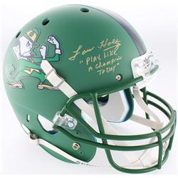 "Lou Holtz Signed Notre Dame Fighting Irish Custom Matte Green Full-Size Helmet Inscribed ""Play Like"
