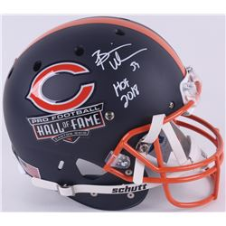 "Brian Urlacher Signed Hall of Fame Commemorative Full-Size Matte Navy Blue Helmet Inscribed ""HOF 201"