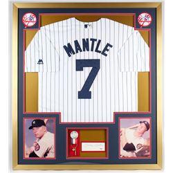 Mickey Mantle Signed Yankees 34x38 Custom Framed Cut Display (PSA LOA)