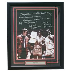 """Bobby Knight Signed Indiana Hoosiers 22"""" x 27"""" Custom Framed Photo Display Inscribed """"1976 National"""