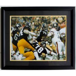 Joe Greene Signed Steelers 22x27 Custom Framed Photo Display (PSA COA)