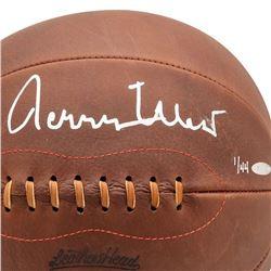Jerry West Signed Naismith Leather Head Basketball (UDA COA)
