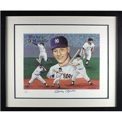 Mickey Mantle Signed Yankees LE 17x20 Custom Framed Artwork Display (JSA)