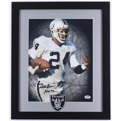 "Willie Brown Raiders 16x19 Custom Framed Photo Display With Patch Inscribed ""HOF 84"" (PSA COA)"