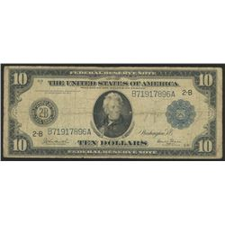 1914 $10 Ten Dollars U.S. Blue Seal Federal Reserve Bank Note