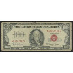 1966 $100 One Hundred Dollars U.S. Legal Tender Note (AA Block)