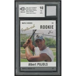 2004 Just Featured Preview Pujols #AP1 Albert Pujols Maple Woods with Game-Used Jersey (BCCG 10)