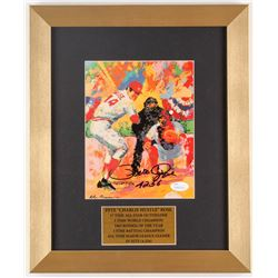 "Pete Rose Signed 12x14.5 Custom Framed LeRoy Neiman Print Inscribed ""4256"" (JSA COA)"