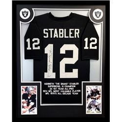 Ken Stabler Signed Raiders 34x42 Custom Framed Career Highlight Stat Jersey (Radtke COA  Stabler Hol