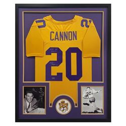 "Billy Cannon Signed LSU Tigers 34x42 Custom Framed Jersey Inscribed ""Heisman Trophy 59"" (Radtke COA)"