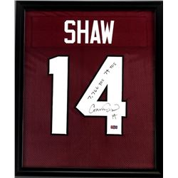 "Connor Shaw Signed South Carolina Gamecocks 23x27 Custom Framed Jersey Inscribed ""7,766 YDS""  ""74 TD"