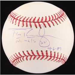 "Francisco Rodriguez Signed OML Baseball Inscribed ""1st Mets SV 4-6-09"" (Fanatics Hologram  MLB Holog"