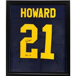 "Desmond Howard Signed Michigan Wolverines 23x27 Custom Framed Jersey Inscribed ""Heisman '91"" (Radtke"