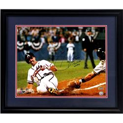 "Sid Bream Signed Braves 23x27 Custom Framed Photo Display Inscribed ""That Slide""  ""10/14/92"" (Radtke"