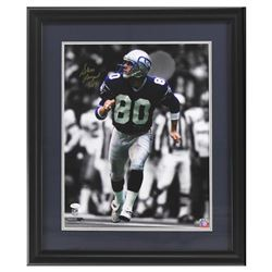 "Steve Largent Signed Seahawks 23x27 Custom Framed Photo Display Inscribed ""HOF 95"" (JSA COA)"