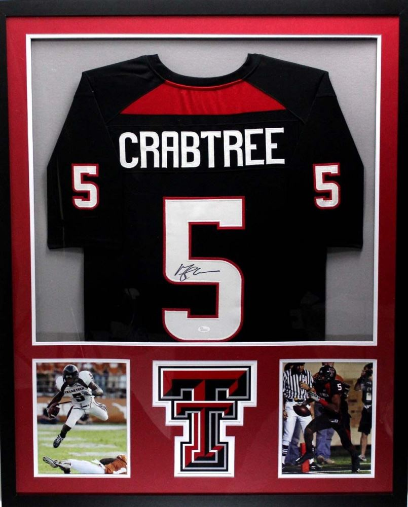 online store 63cc8 2a143 Michael Crabtree Signed Texas Tech Red Raiders 34x42 ...