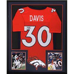 """Terrell Davis Signed Broncos 34x42 Custom Framed Jersey Inscribed """"HOF 17"""" (JSA COA)"""