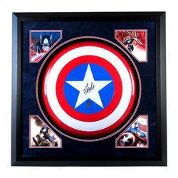"Stan Lee Signed ""Captain America"" 37x37 Custom Framed Marvel Full-Size Replica Shield Display (Radtk"