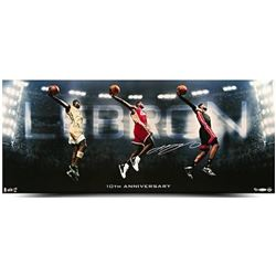 "LeBron James Signed ""10th Anniversary"" 36x15 Photo LE 50 (UDA COA)"