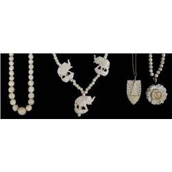 4 Estate Carved Bone Necklaces