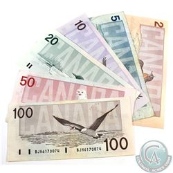 Run of Six Different Denominations of Bird Series Banknote. Included is a $2, $5, $10, $20, $50 and