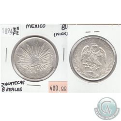 1894 ZSFZ Mexico Silver 8 - Reales Zacatecas Brilliant Uncirculated (MS-62 to MS-64) Condition (nick