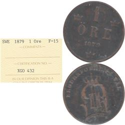 1879 Sweden 1 Ore ICCS Certified F-15