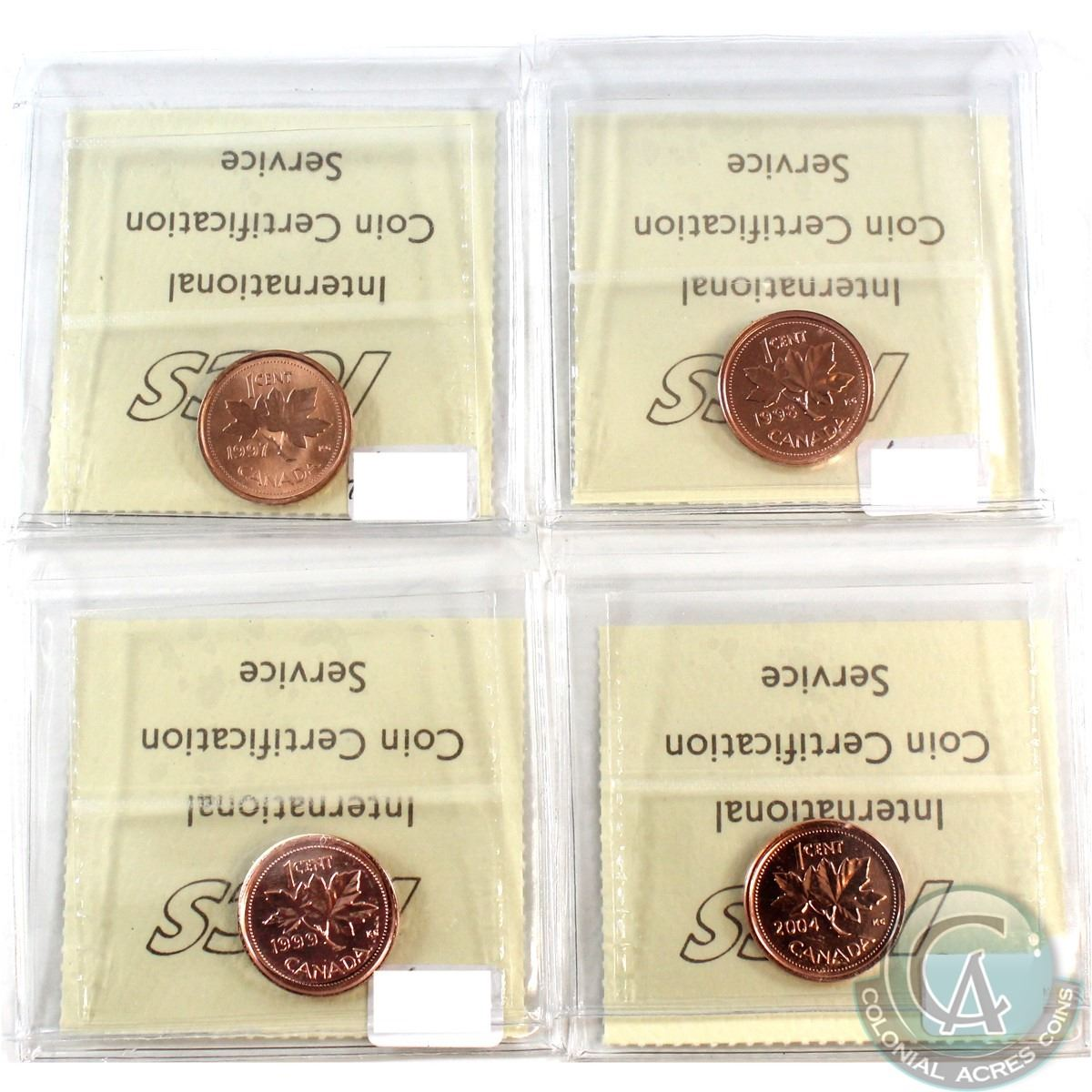1997, 1998W, 1999, 2004P Canada NBU 1-cent ICCS Certified MS-67 Red