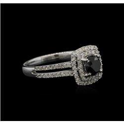 1.39 ctw Black Diamond Ring - 14KT White Gold
