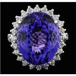 14KT White Gold 19.12 ctw Tanzanite and Diamond Ring