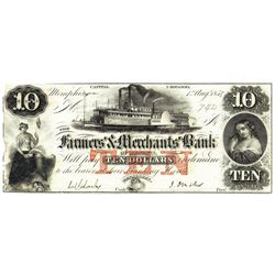 1854 $10 Farmers Merchant Bank, Memphis, TN Obsolete Bank Note