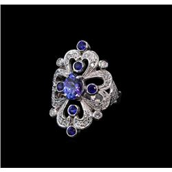 1.42 ctw Tanzanite, Sapphire and Diamond Ring - 14KT White Gold