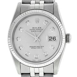 Rolex Mens Stainless Steel Silver Diamond Datejust Wristwatch