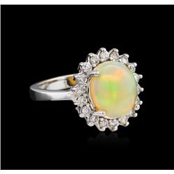2.35 ctw Opal and Diamond Ring - 14KT White Gold