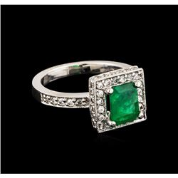 14KT White Gold 0.25 ctw Emerald and Diamond Ring
