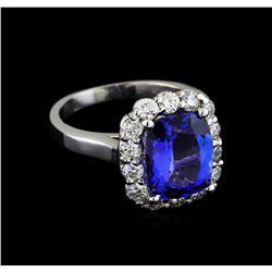 3.78 ctw Tanzanite and Diamond Ring - 14KT White Gold