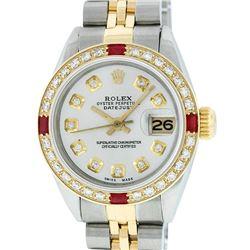 Rolex Ladies 2 Tone 14K Silver Diamond & Ruby Datejust Wristwatch