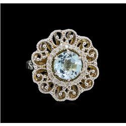 14KT White Gold 2.65 ctw Blue Topaz and Diamond Ring