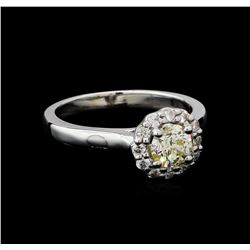 0.82 ctw Light Yellow Diamond Ring - 14KT White Gold