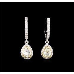2.58 ctw Diamond Earrings - 14KT Two-Tone Gold