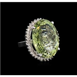 14KT White Gold 37.65 ctw Quartz and Diamond Ring