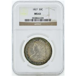 1827 Capped Bust Half Dollar Coin NGC MS61 - Great Toning