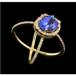 2.82 ctw Tanzanite and Diamond Ring - 14KT Yellow Gold