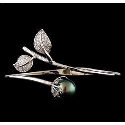 0.55 ctw Diamond and Pearl Bracelet - 14KT White Gold