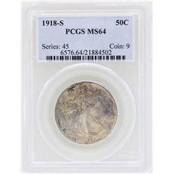 1918-S Walking Liberty Half Dollar Coin PCGS MS64