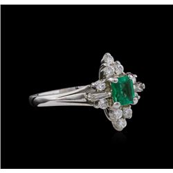 0.38 ctw Emerald and Diamond Ring - 14KT White Gold
